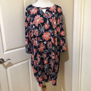 Tacera Floral Keyhole Long Sleeve Mini Dress 3X